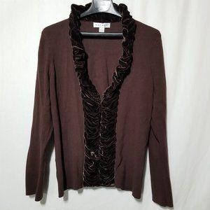 Rafael vintage brown sweater with velvet frills